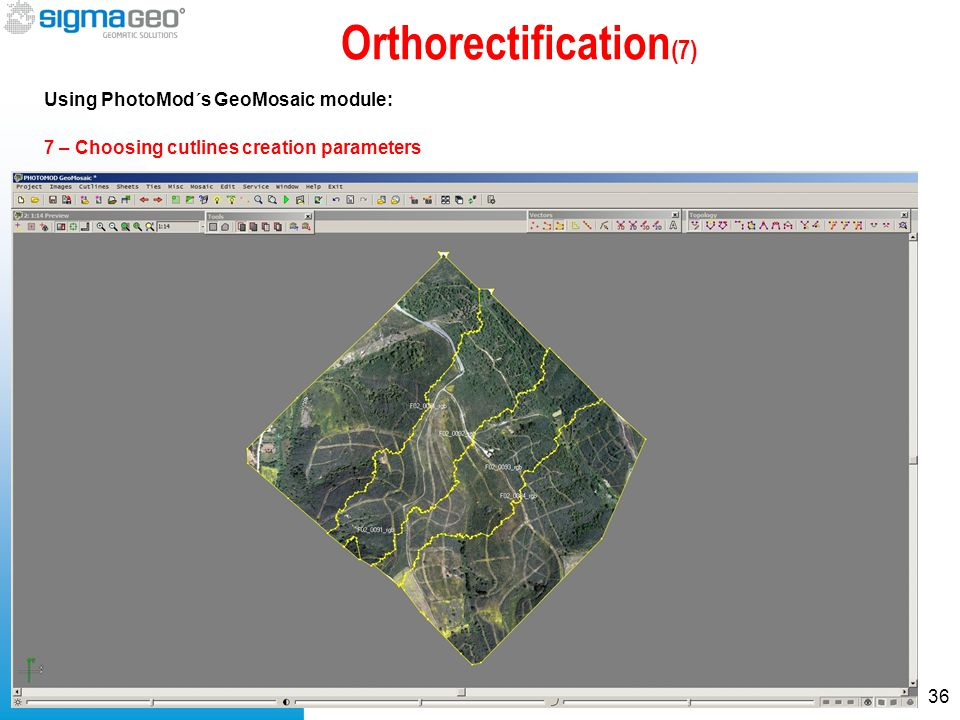 Orthorectification (7) Using PhotoMod´s GeoMosaic module: 36 7 – Choosing cutlines creation parameters