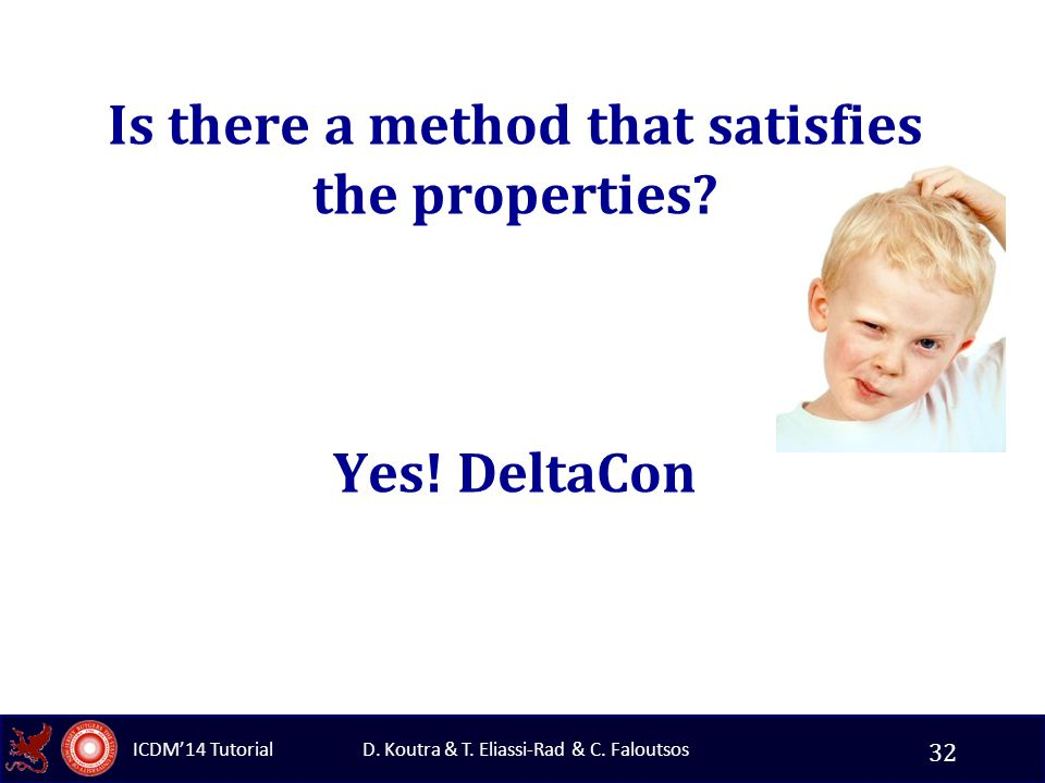 D. Koutra & T. Eliassi-Rad & C. Faloutsos ICDM'14 Tutorial Is there a method that satisfies the properties? Yes! DeltaCon 32