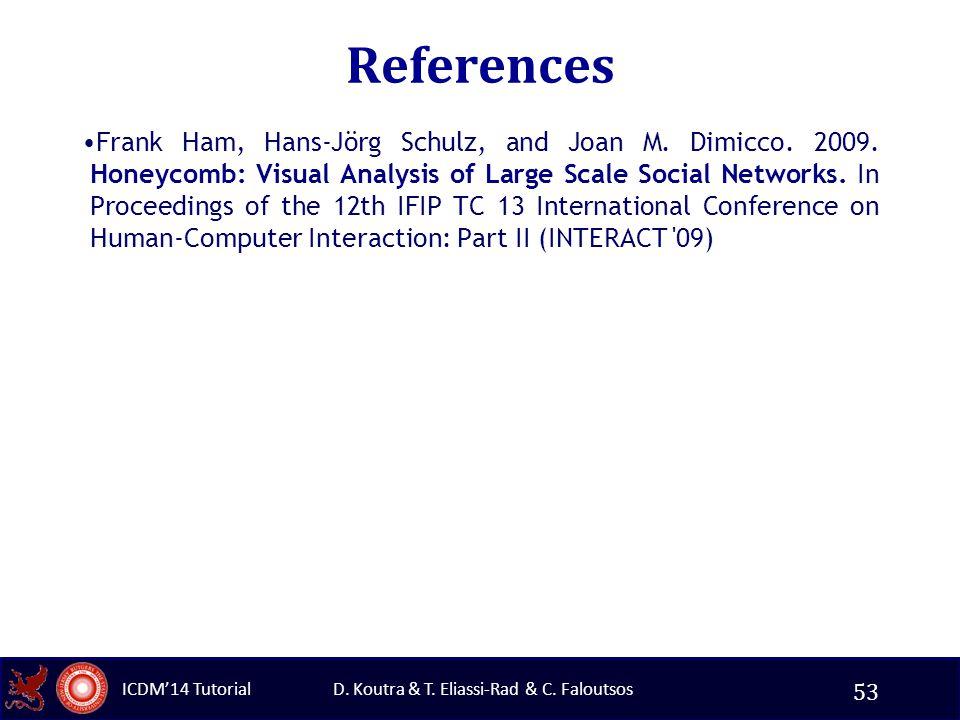 D. Koutra & T. Eliassi-Rad & C. Faloutsos ICDM'14 Tutorial References Frank Ham, Hans-Jörg Schulz, and Joan M. Dimicco. 2009. Honeycomb: Visual Analys