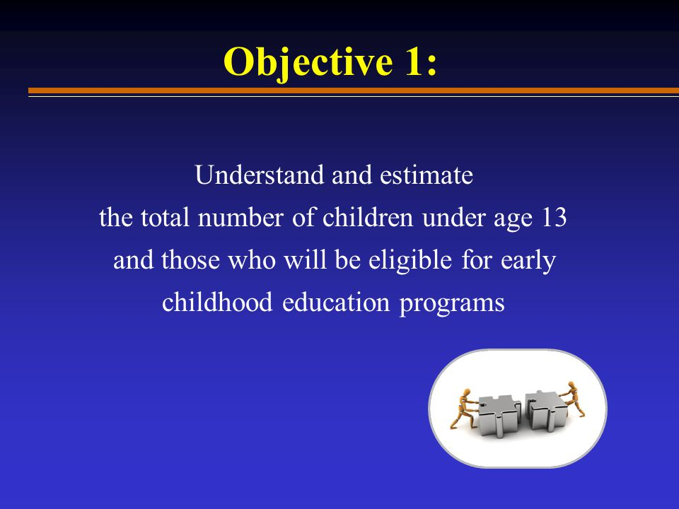 Understand and estimate the total number of children under age 13 and those who will be eligible for early childhood education programs Objective 1: