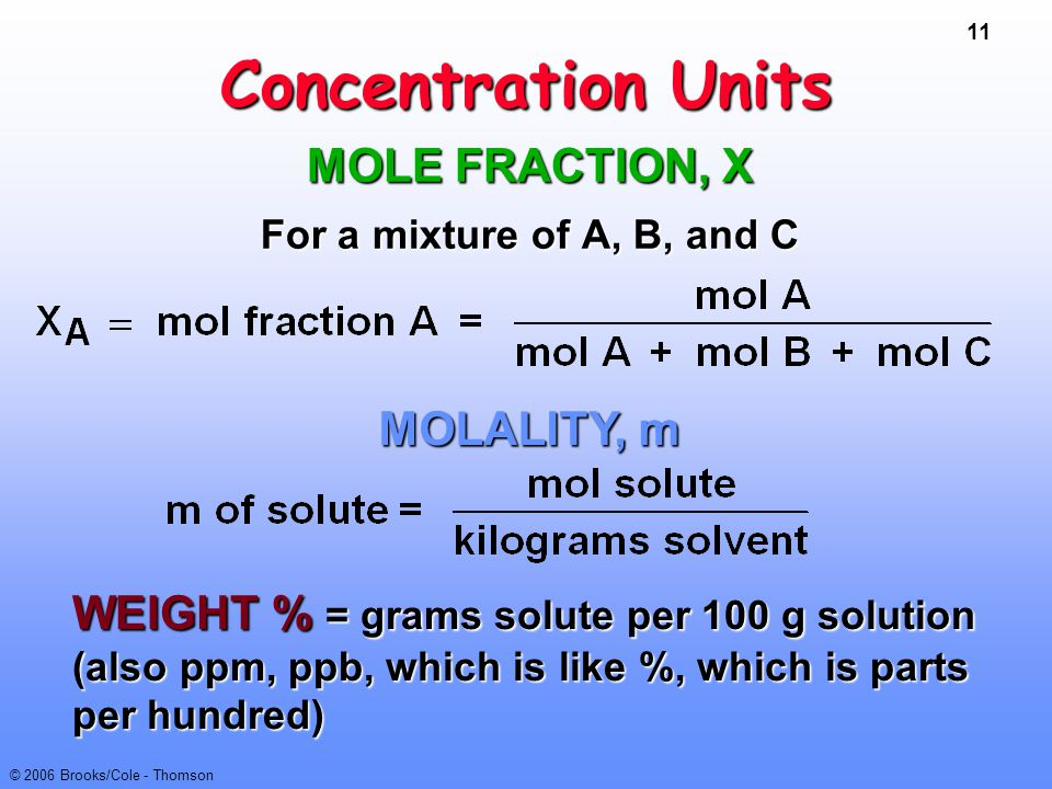 11 © 2006 Brooks/Cole - Thomson Concentration Units MOLE FRACTION, X For a mixture of A, B, and C WEIGHT % = grams solute per 100 g solution (also ppm
