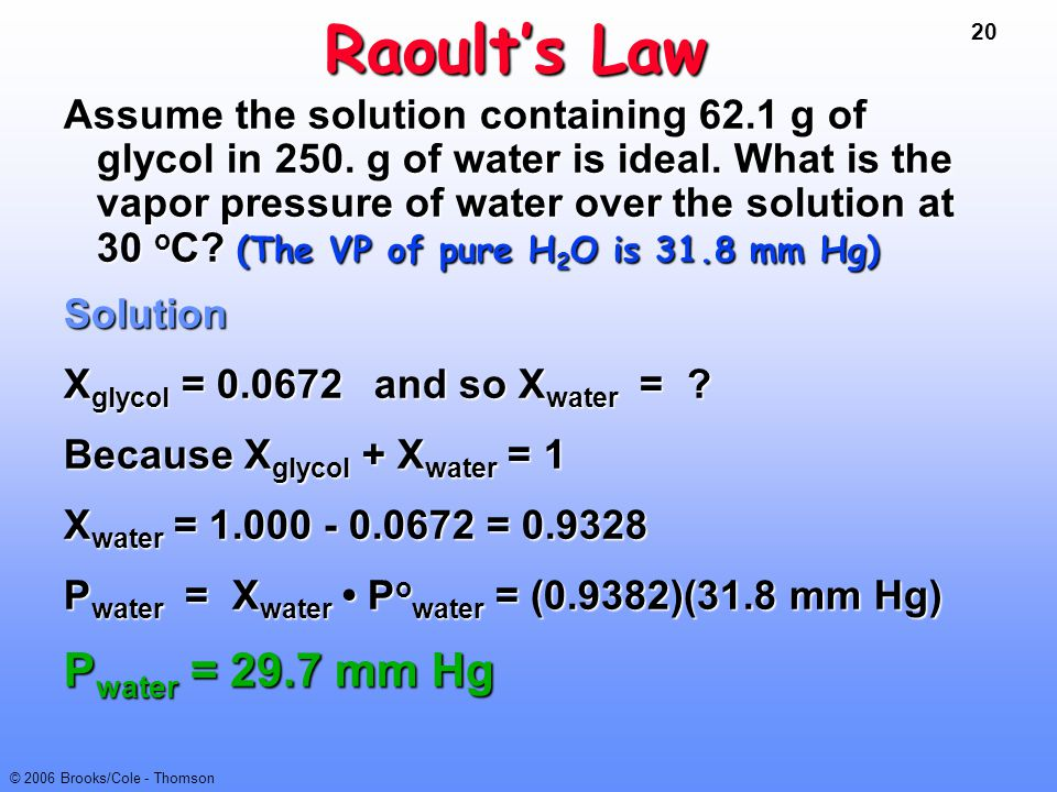 20 © 2006 Brooks/Cole - Thomson Raoult's Law Assume the solution containing 62.1 g of glycol in 250. g of water is ideal. What is the vapor pressure o