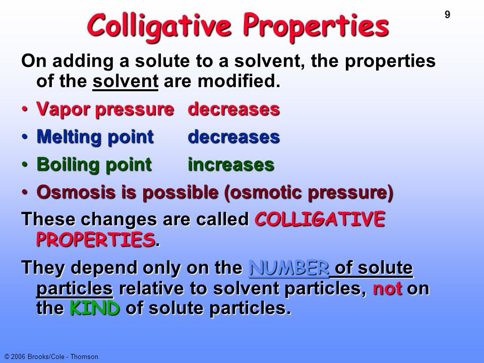 9 © 2006 Brooks/Cole - Thomson Colligative Properties On adding a solute to a solvent, the properties of the solvent are modified. Vapor pressure decr