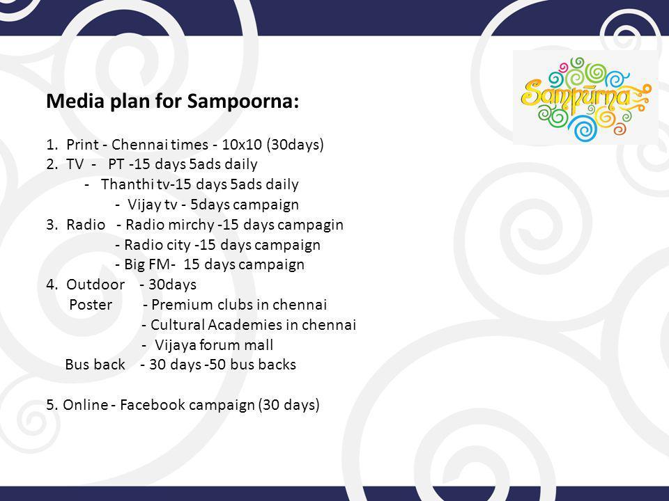 Media plan for Sampoorna: 1. Print - Chennai times - 10x10 (30days) 2.