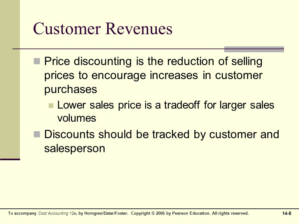 14-8 To accompany Cost Accounting 12e, by Horngren/Datar/Foster. Copyright © 2006 by Pearson Education. All rights reserved. Customer Revenues Price d