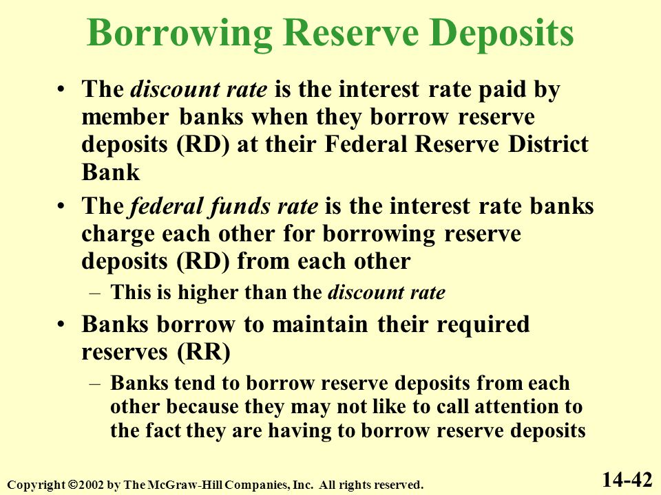 The discount rate is the interest rate paid by member banks when they borrow reserve deposits (RD) at their Federal Reserve District Bank The federal funds rate is the interest rate banks charge each other for borrowing reserve deposits (RD) from each other –This is higher than the discount rate Banks borrow to maintain their required reserves (RR) –Banks tend to borrow reserve deposits from each other because they may not like to call attention to the fact they are having to borrow reserve deposits 14-42 Borrowing Reserve Deposits Copyright  2002 by The McGraw-Hill Companies, Inc.
