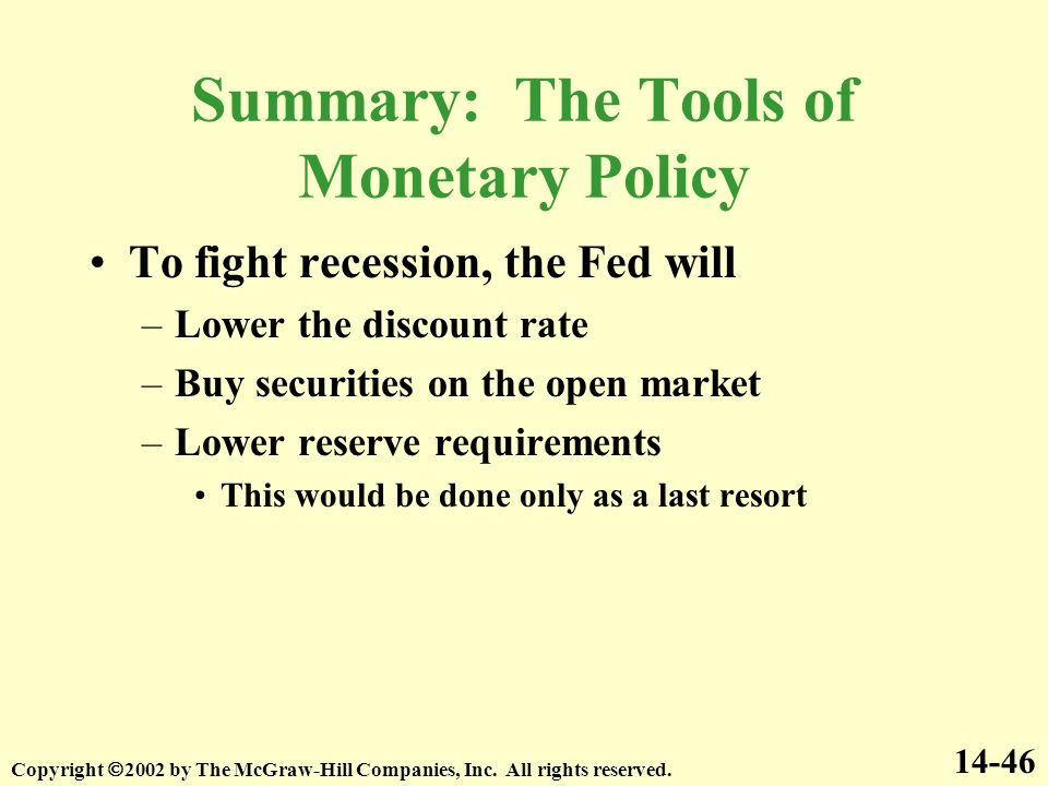 Summary: The Tools of Monetary Policy To fight recession, the Fed will –Lower the discount rate –Buy securities on the open market –Lower reserve requirements This would be done only as a last resort 14-46 Copyright  2002 by The McGraw-Hill Companies, Inc.