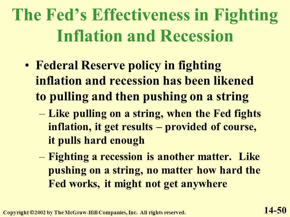 The Fed's Effectiveness in Fighting Inflation and Recession Federal Reserve policy in fighting inflation and recession has been likened to pulling and then pushing on a string –Like pulling on a string, when the Fed fights inflation, it get results – provided of course, it pulls hard enough –Fighting a recession is another matter.
