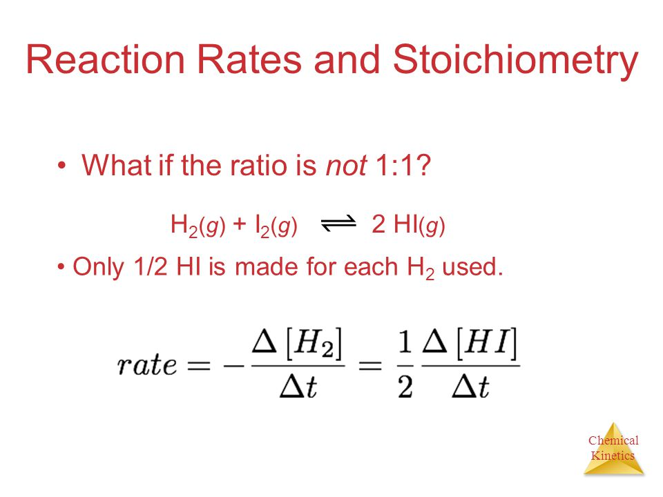 Chemical Kinetics Reaction Rates and Stoichiometry What if the ratio is not 1:1? H 2 (g) + I 2 (g) 2 HI (g) Only 1/2 HI is made for each H 2 used.