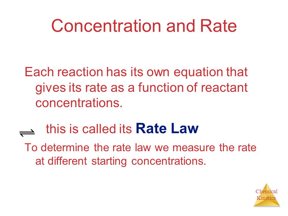 Chemical Kinetics Concentration and Rate Each reaction has its own equation that gives its rate as a function of reactant concentrations. this is call