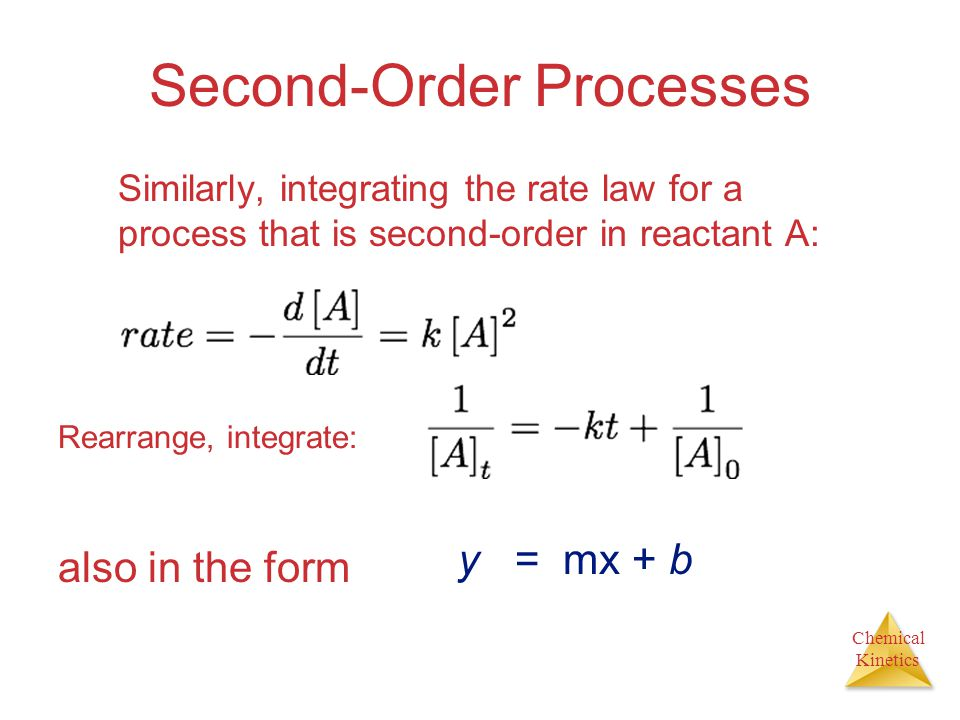 Chemical Kinetics Second-Order Processes Similarly, integrating the rate law for a process that is second-order in reactant A: also in the form y = mx + b Rearrange, integrate: