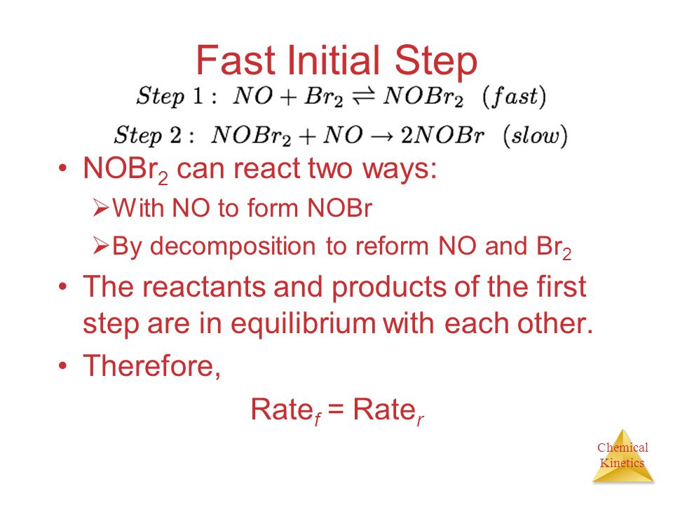 Chemical Kinetics Fast Initial Step NOBr 2 can react two ways:  With NO to form NOBr  By decomposition to reform NO and Br 2 The reactants and produ