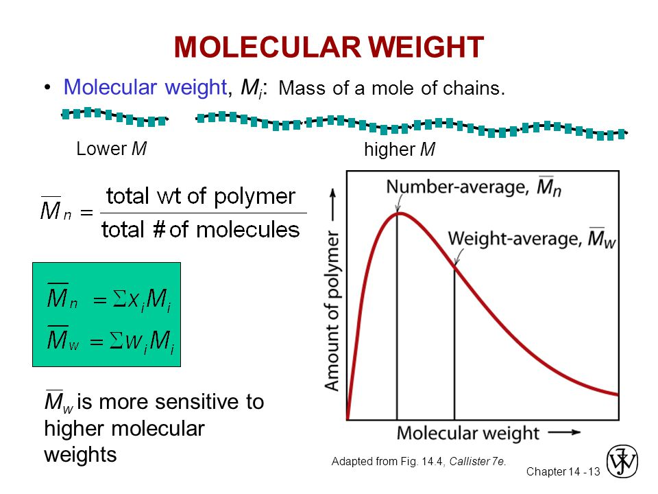 Chapter 14 - 13 MOLECULAR WEIGHT M w is more sensitive to higher molecular weights Molecular weight, M i : Mass of a mole of chains. Lower M higher M