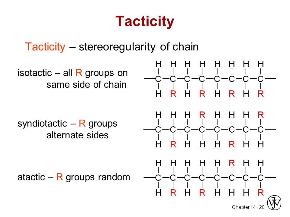 Chapter 14 - 20 Tacticity Tacticity – stereoregularity of chain isotactic – all R groups on same side of chain syndiotactic – R groups alternate sides