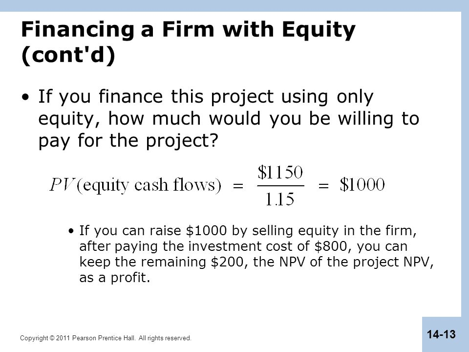 Copyright © 2011 Pearson Prentice Hall. All rights reserved. 14-13 Financing a Firm with Equity (cont'd) If you finance this project using only equity