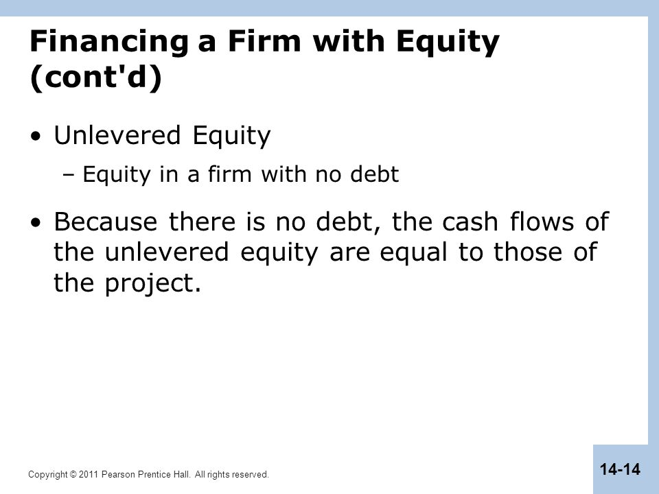 Copyright © 2011 Pearson Prentice Hall. All rights reserved. 14-14 Financing a Firm with Equity (cont'd) Unlevered Equity –Equity in a firm with no de