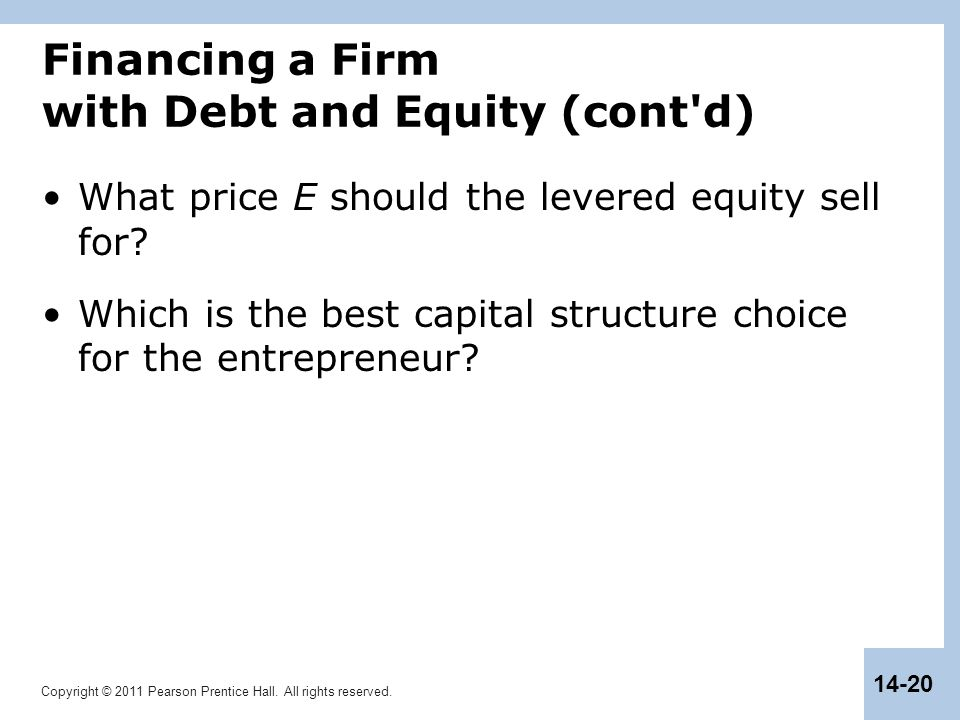 Copyright © 2011 Pearson Prentice Hall. All rights reserved. 14-20 Financing a Firm with Debt and Equity (cont'd) What price E should the levered equi
