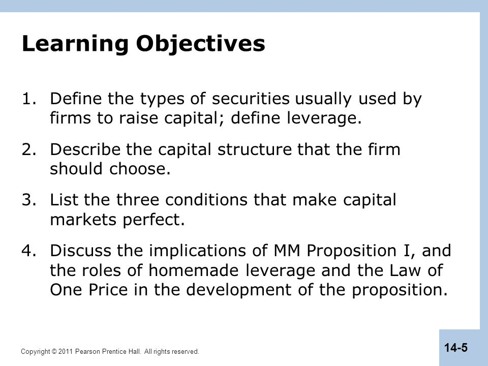 Copyright © 2011 Pearson Prentice Hall. All rights reserved. 14-5 Learning Objectives 1.Define the types of securities usually used by firms to raise