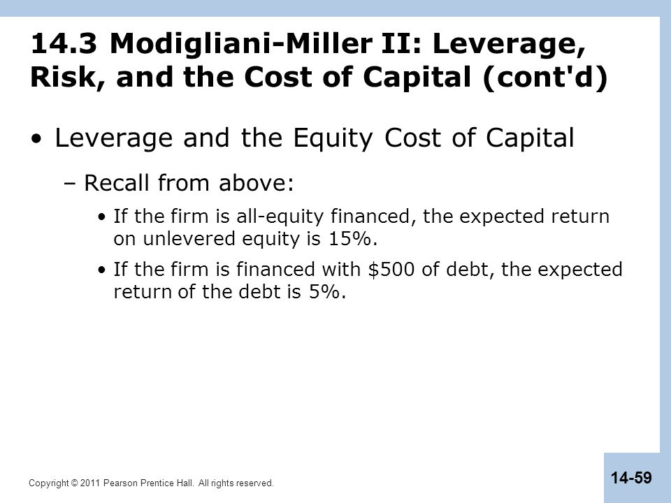 Copyright © 2011 Pearson Prentice Hall. All rights reserved. 14-59 14.3 Modigliani-Miller II: Leverage, Risk, and the Cost of Capital (cont'd) Leverag