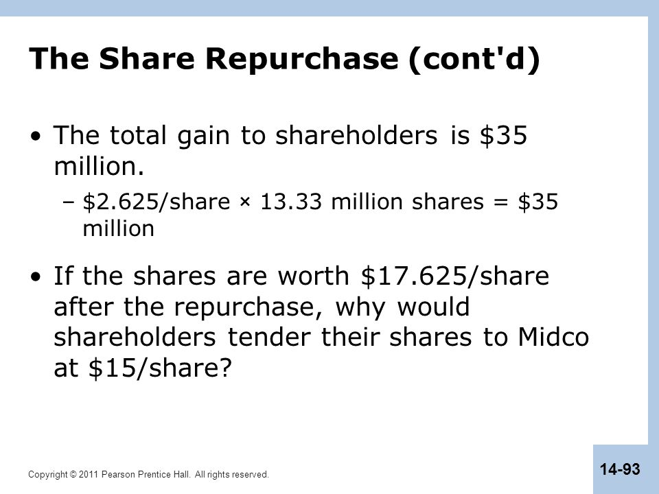 Copyright © 2011 Pearson Prentice Hall. All rights reserved. 14-93 The Share Repurchase (cont'd) The total gain to shareholders is $35 million. –$2.62