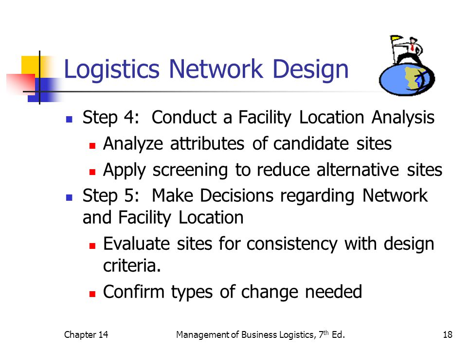Chapter 14Management of Business Logistics, 7 th Ed.18 Logistics Network Design Step 4: Conduct a Facility Location Analysis Analyze attributes of can