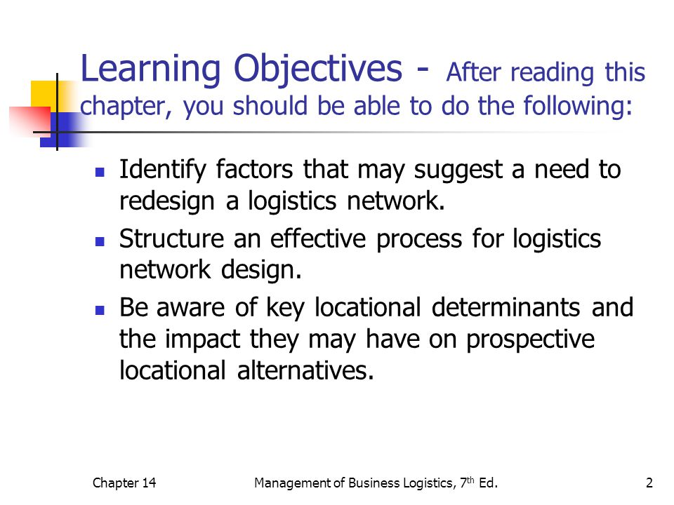 Chapter 14Management of Business Logistics, 7 th Ed.2 Learning Objectives - After reading this chapter, you should be able to do the following: Identi