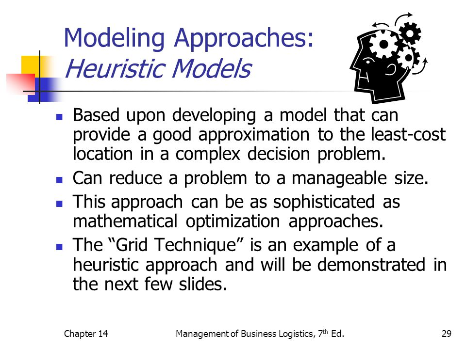 Chapter 14Management of Business Logistics, 7 th Ed.29 Modeling Approaches: Heuristic Models Based upon developing a model that can provide a good app