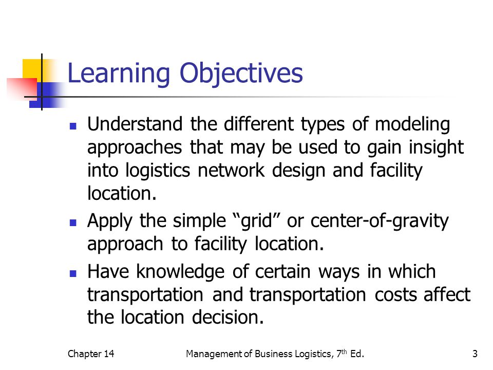 Chapter 14Management of Business Logistics, 7 th Ed.3 Learning Objectives Understand the different types of modeling approaches that may be used to ga