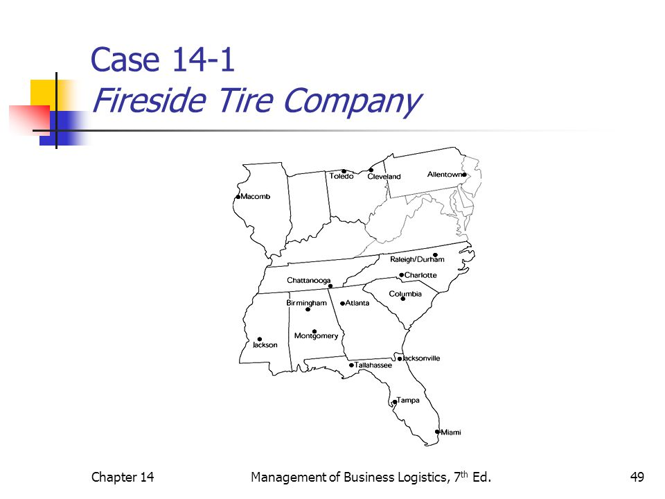 Chapter 14Management of Business Logistics, 7 th Ed.49 Case 14-1 Fireside Tire Company
