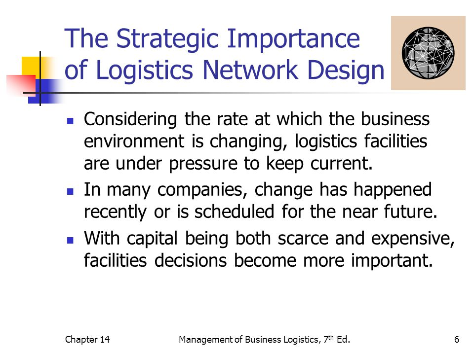 Chapter 14Management of Business Logistics, 7 th Ed.6 The Strategic Importance of Logistics Network Design Considering the rate at which the business