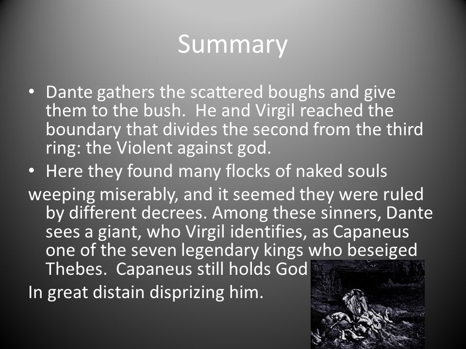 Summary Dante gathers the scattered boughs and give them to the bush.