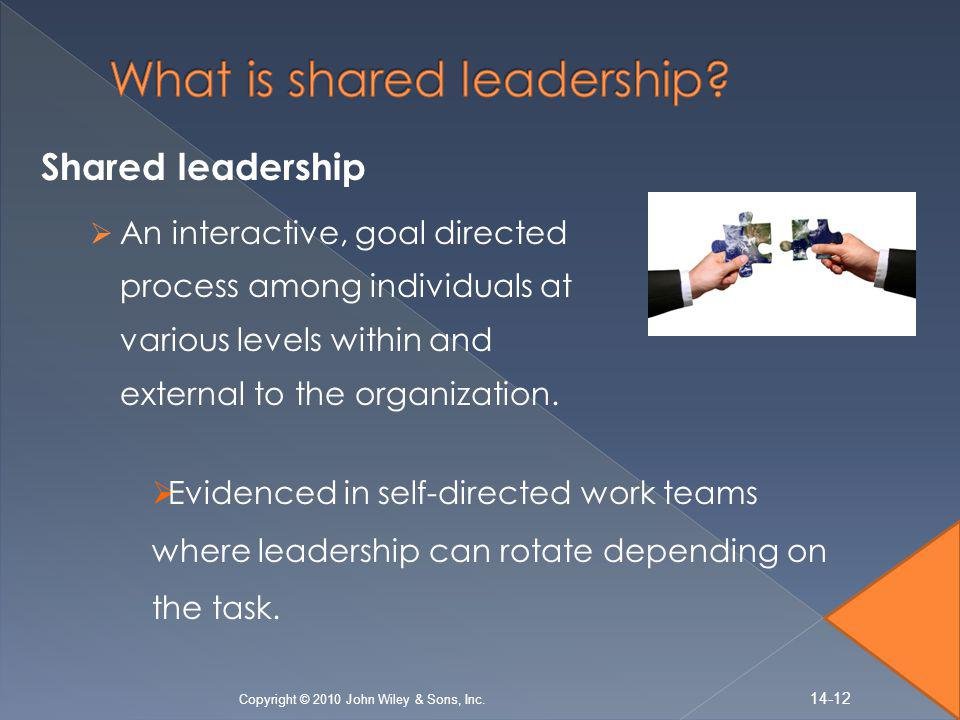 Shared leadership  An interactive, goal directed process among individuals at various levels within and external to the organization.