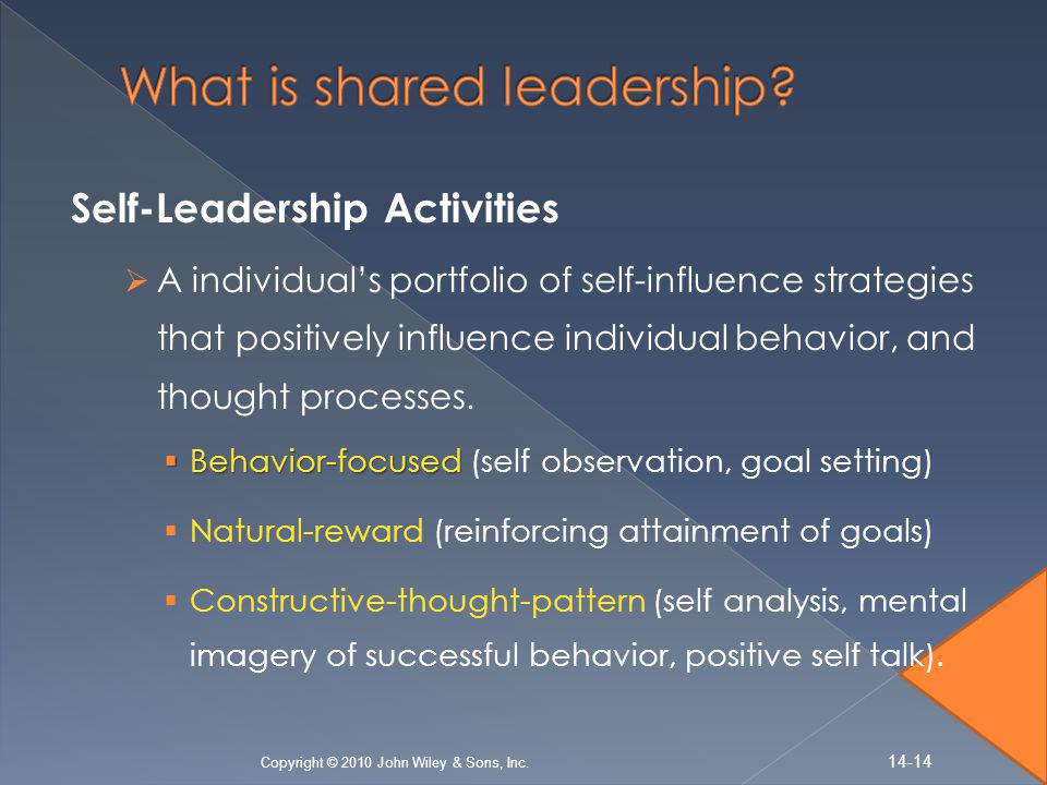 Self-Leadership Activities  A individual's portfolio of self-influence strategies that positively influence individual behavior, and thought processes.