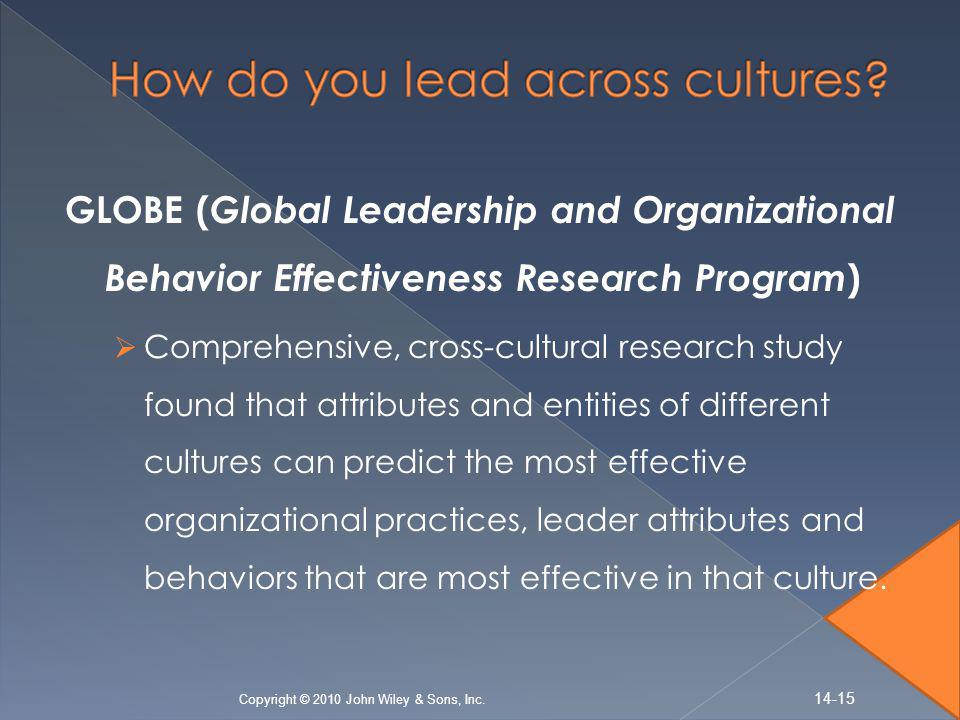 GLOBE ( Global Leadership and Organizational Behavior Effectiveness Research Program )  Comprehensive, cross-cultural research study found that attributes and entities of different cultures can predict the most effective organizational practices, leader attributes and behaviors that are most effective in that culture.
