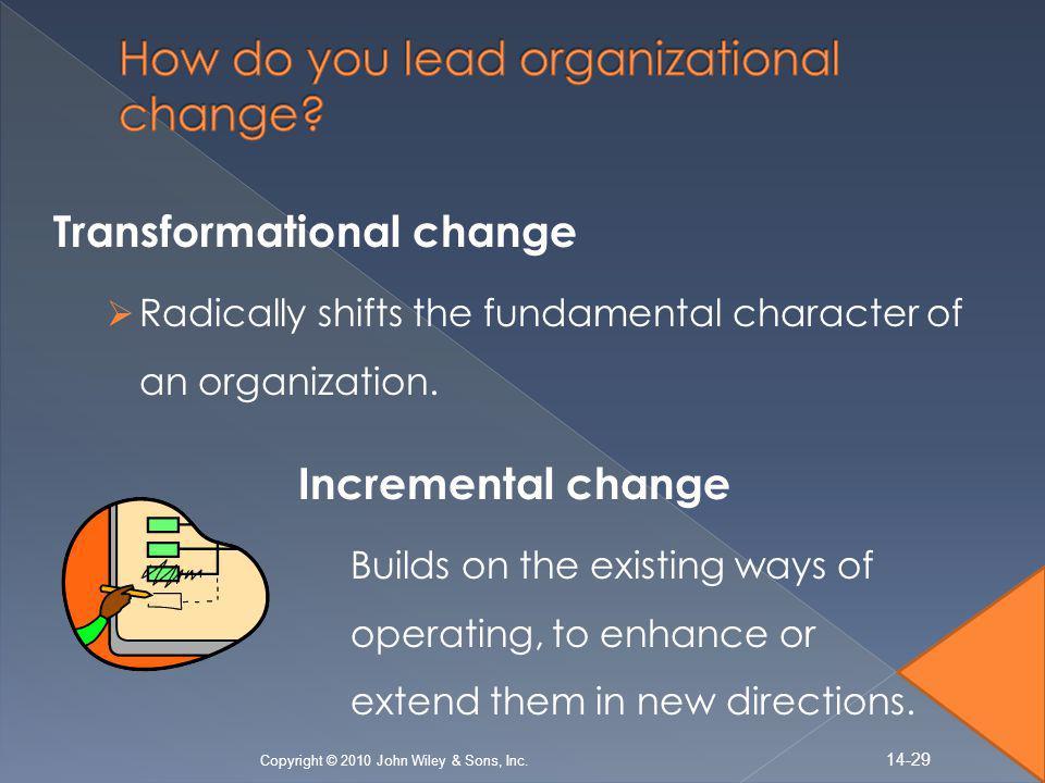 Transformational change  Radically shifts the fundamental character of an organization.