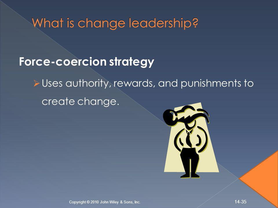 Force-coercion strategy  Uses authority, rewards, and punishments to create change.