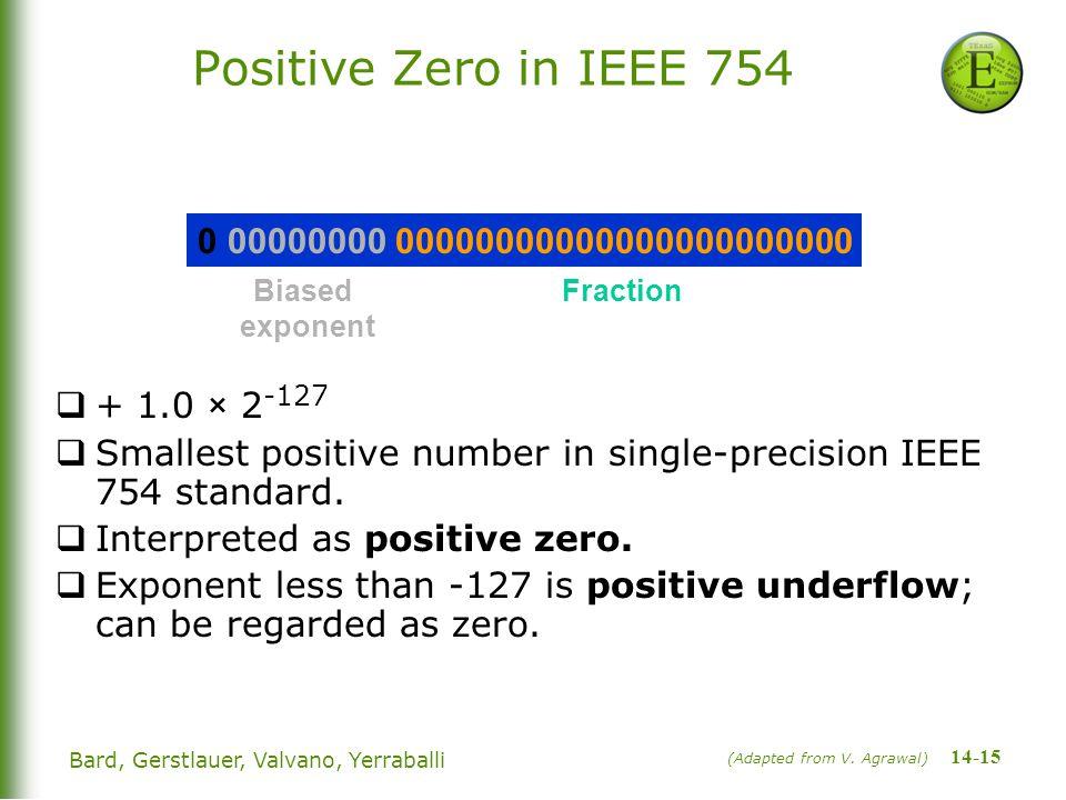 14-15 Bard, Gerstlauer, Valvano, Yerraballi Positive Zero in IEEE 754  + 1.0 × 2 -127  Smallest positive number in single-precision IEEE 754 standard.