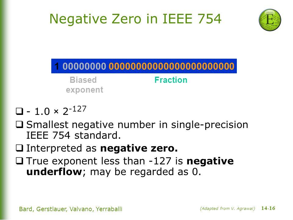 14-16 Bard, Gerstlauer, Valvano, Yerraballi Negative Zero in IEEE 754  - 1.0 × 2 -127  Smallest negative number in single-precision IEEE 754 standard.