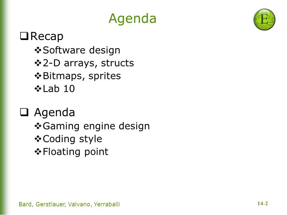 14-2 Bard, Gerstlauer, Valvano, Yerraballi Agenda  Recap  Software design  2-D arrays, structs  Bitmaps, sprites  Lab 10  Agenda  Gaming engine design  Coding style  Floating point