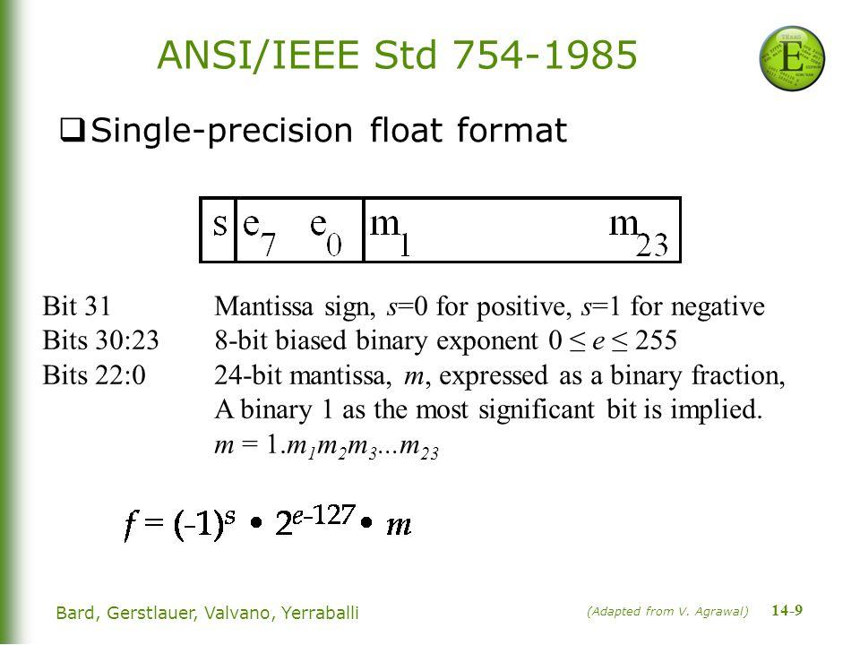 14-9 Bard, Gerstlauer, Valvano, Yerraballi ANSI/IEEE Std 754-1985  Single-precision float format (Adapted from V.