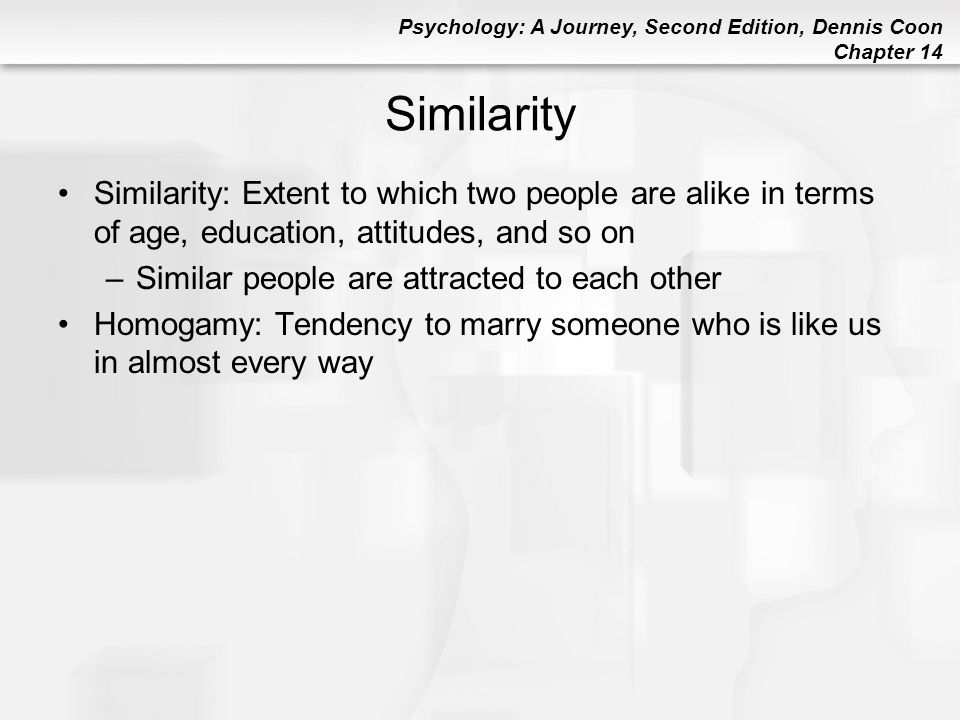 Psychology: A Journey, Second Edition, Dennis Coon Chapter 14 Similarity Similarity: Extent to which two people are alike in terms of age, education,