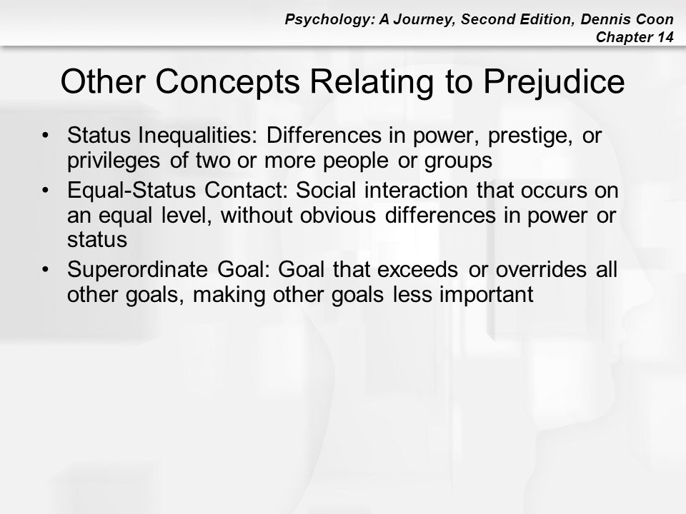 Psychology: A Journey, Second Edition, Dennis Coon Chapter 14 Other Concepts Relating to Prejudice Status Inequalities: Differences in power, prestige