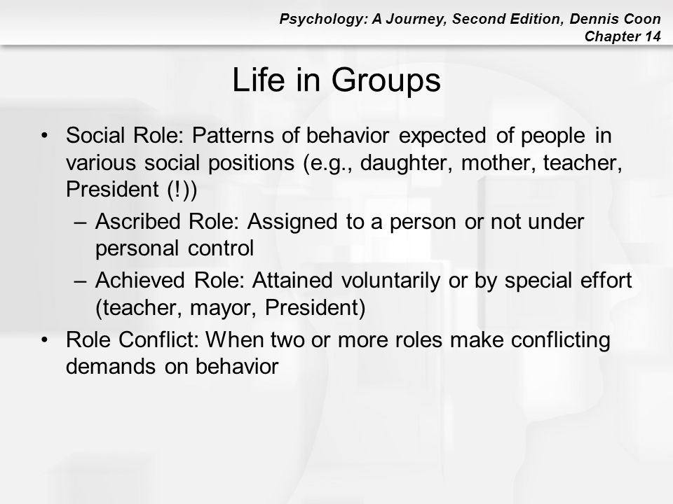 Psychology: A Journey, Second Edition, Dennis Coon Chapter 14 Life in Groups Social Role: Patterns of behavior expected of people in various social po