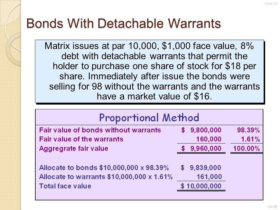 Slide 39 14-39 Bonds With Detachable Warrants Matrix issues at par 10,000, $1,000 face value, 8% debt with detachable warrants that permit the holder