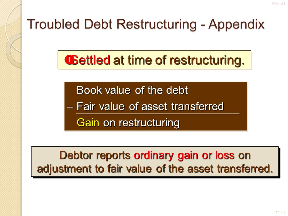 Slide 41 14-41 Troubled Debt Restructuring - Appendix  Settled at time of restructuring. Book value of the debt Book value of the debt – Fair value o