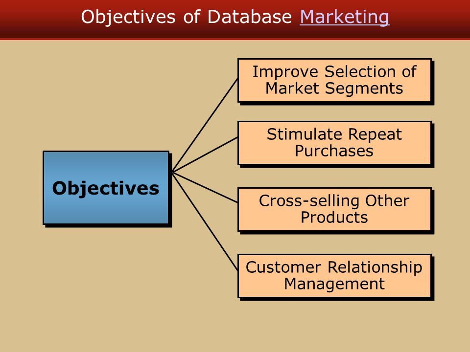 Objectives of Database MarketingMarketing Improve Selection of Market Segments Stimulate Repeat Purchases Cross-selling Other Products Customer Relati