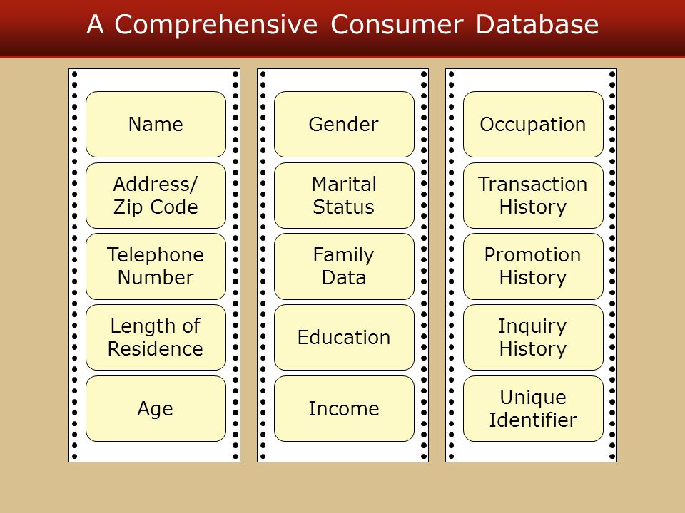 A Comprehensive Consumer Database Name Address/ Zip Code Telephone Number Length of Residence Age Gender Marital Status Family Data Education Income O