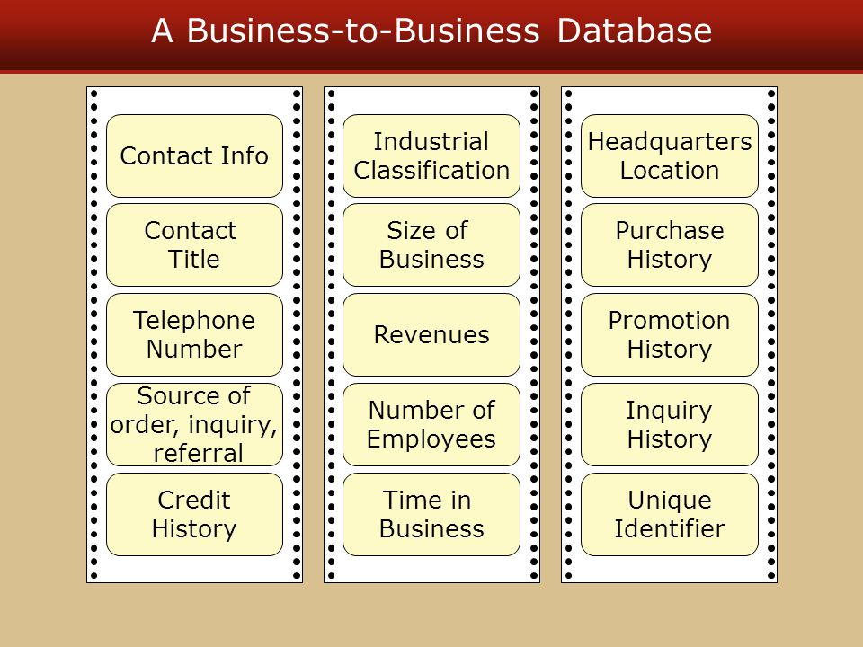 A Business-to-Business Database Contact Info Contact Title Telephone Number Source of order, inquiry, referral Credit History Industrial Classificatio