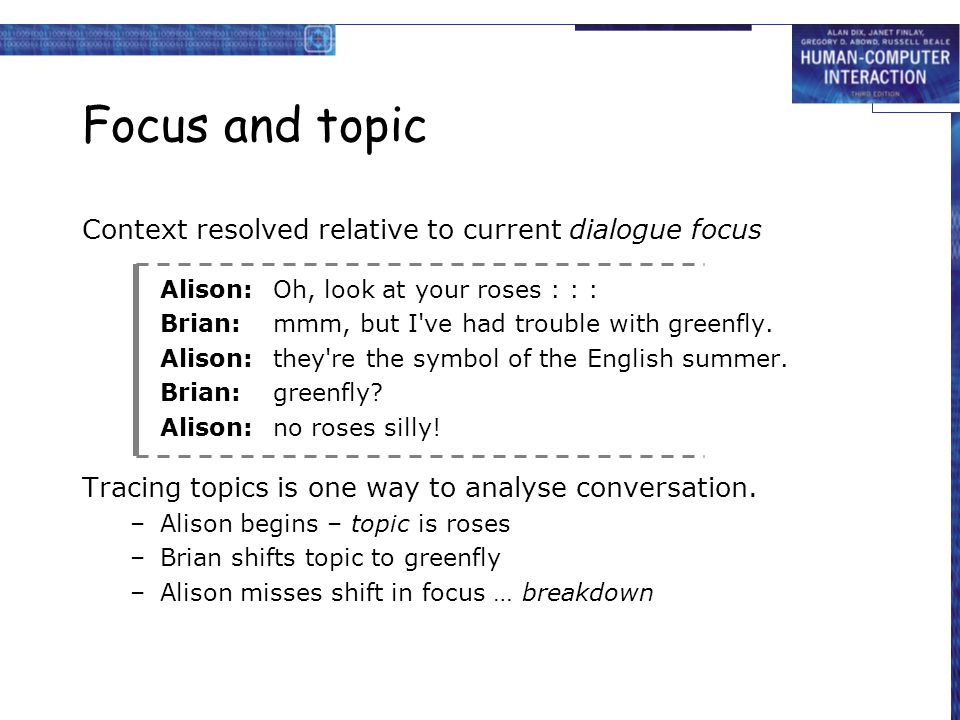 Focus and topic Context resolved relative to current dialogue focus Alison:Oh, look at your roses : : : Brian:mmm, but I've had trouble with greenfly.