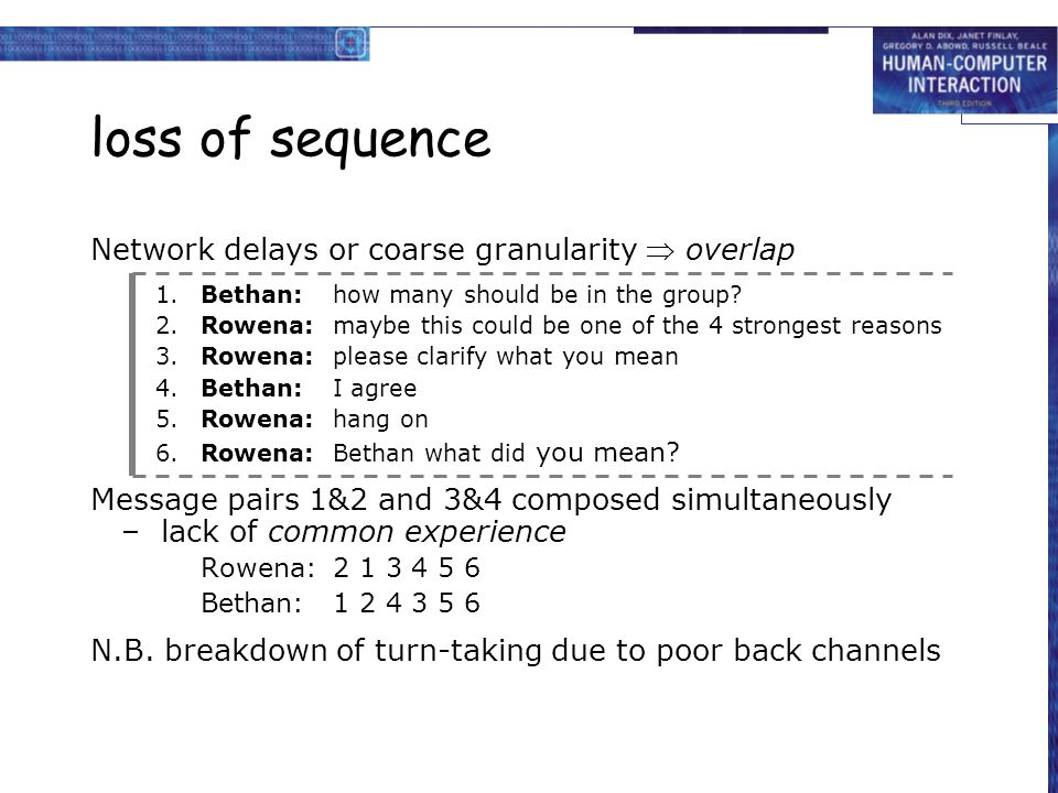 loss of sequence Network delays or coarse granularity  overlap 1.Bethan:how many should be in the group? 2.Rowena:maybe this could be one of the 4 st